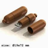 サポートによって刻まれるロゴUSBの棒丸薬によって形づけられる木USBのフラッシュ駆動機構