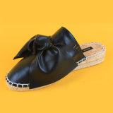 Mesdames noir Flats Bowknot Diapositive espadrilles de filtre en coin pour les femmes