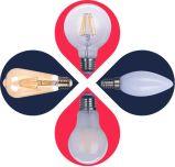 La luz de incandescencia LED C30L-Cog 2W 200lm E14 2pcs filamento