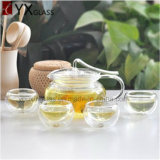 2016 Hot-Selling High Borosilicate Fire Resisitant Clear Glass Théière Flower Booming Tea Kettle Main Blow Glass Tea Coffee Sets