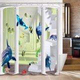 Tenda di acquazzone impermeabile della stanza da bagno del tessuto del poliestere di stampa di Digitahi della balena (07S0024)