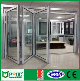 Алюминий аккордеон складные двери с двойным стеклом Pnoc0009bfd
