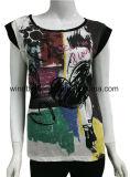 Мода черный T рубашку для женщин с Slub хлопка и шифон ткань