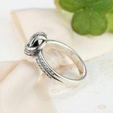 Anello scintillante dei monili dell'indennità di modo della barretta del tessuto del nodo di amore dell'argento sterlina dell'accumulazione 925 di autunno per l'anello di fidanzamento delle donne