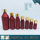 Botella de aceite esencial de vidrio de color rojo europeo con tapa de oro