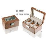 Cuoio Handmade dell'unità di elaborazione/cuscino di legno del contenitore di vigilanza di memoria/velluto di caso