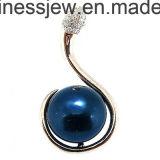 Pendente dell'argento sterlina con il pendente nero di fascino della perla (P5021s)
