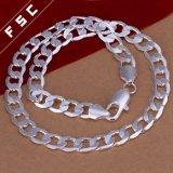 Form-Schmucksache-Silber überzogene einfacher Entwurfs-Ketten-Halskette für Mann