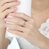 Anello di cerimonia nuziale d'argento del diamante 925 puri di valore per le donne