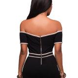 Schwarze nackte Ordnung Bodycon weg vom Schulter-Kleid