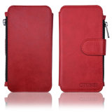 [Zipper Cash Storage] Premium Flip PU Leather Wallet Case Cover com estojo rígido magnético destacável para iPhone 6s Plus