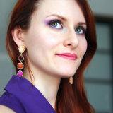 금과 기하학적인 은에 있는 정맥 수지를 가진 형식 하락 귀걸이는 다채로운 수정같은 돌 진주 매력을%s 가진 귀걸이를 매단다