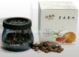 コーヒー豆または石が付いているガラスビン車の芳香剤