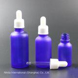 Bottiglia di olio di vetro blu glassata con il contagoccia bianco, bottiglia del contagoccia (NBG24C)