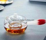 Theepot van het Glas van Pyrex de Met de hand gemaakte met de Buitensporige Houder van de Kleur