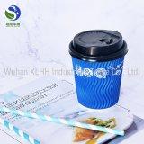 Zoll gedruckte doppel-wandige Kräuselung-Papier-Wegwerfkaffeetassen mit Kappe