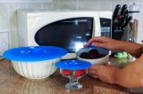 Déversement résistant en silicone de qualité alimentaire couvercle d'aspiration pour le Pan