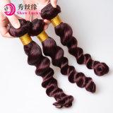 100%のマレーシアの人間の毛髪の緩い波のバーガンディの赤いバージンのマレーシアRemyの毛のよこ糸