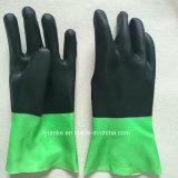 Двойной цветной ПВХ безопасность рабочей стороны перчатки