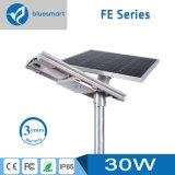 alta luz de calle solar del índice de conversión 30W LED con la batería de litio