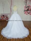 Платье венчания шнурка украшения белого иллюзиона заднее отбортовывая