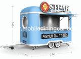 De nieuwe Aanhangwagen van het Voedsel van de Hotdog van de Vrachtwagens van het Voedsel van het Roomijs van het Ontwerp Kleine Mobiele