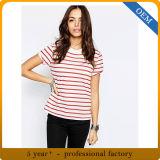 OEM 숙녀 100%년 면 빨강과 백색 줄무늬 t-셔츠
