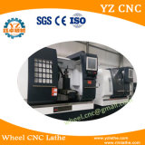 Máquina do torno da estaca da roda do CNC com a tela da ponta de prova e de toque