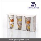Forma de V de 300 ml Agua de Beber vasos de vidrio con diseño de impresión