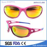 Óculos de sol do espelho Tr90 UV400 do esporte das mulheres com templo de borracha
