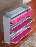 Glass Topの現代3 Drawers High Gloss Shoe Cabinet