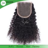 Hot Sale droit brésilien de l'homme noir naturel Remy Hair fermeture