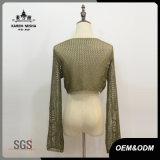 Maglione sottile di misura del raccolto del V-Collo di modo delle donne