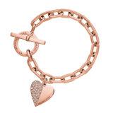 Bracelet dernier cri de manchette en métal de coeur de bracelet de poignet d'or de Rose