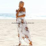 Boho Art-kleidet lange Kleid-Frauen weg vom Schulter-Strand-Sommer Blumendruck-Weinlese-Chiffon- weißes Maxi Kleid Vestidos De Festa