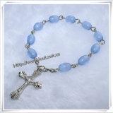 新しいデザイン十字のペンダント(IO-CE068)が付いているガラスディケイドの数珠のブレスレット