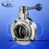 3A Stainless Steel Sanitary Manual Butterfly Valve con Welded Connections