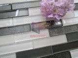 Mattonelle di mosaico di vetro Mixed bianche e grige eccellenti della striscia (CFS691)