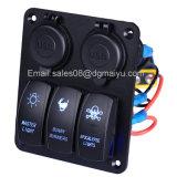 Resistente al agua roja 3 Módulos on-off Interruptor basculante con 2 de doble cargador USB Verde/Azul