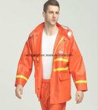 Imperméable orange de la sûreté PVC/Rubber de visibilité élevée avec la bande r3fléchissante