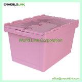 Qualidade Super 65L de mover a caixa de volume de plástico da tampa acoplada