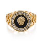 Vagula de plata y el anillo de la CZ manera de las mujeres del Rhinestone de oro