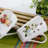 Tazas de café de cerámica impresas promocionales al por mayor de Adverstising 15oz
