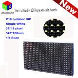 Singolo modulo semi esterno di bianco LED di esplorazione P10 1/4 per la visualizzazione di LED dell'interno di media di pubblicità del TUFFO P10