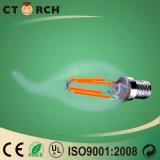 テール2Wを搭載するフィラメントLEDの蝋燭の球根