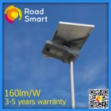 lâmpada solar do jardim da rua do diodo emissor de luz 2017 160lm/W com painel ajustável