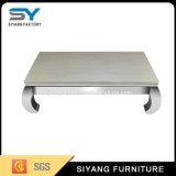 Mobiliário de sala de café de aço em mármore branco mesa de centro de mesa