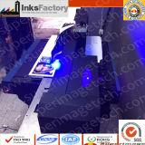 아랍 에미리트 연방 디스트리뷰터는 원했다: 다기능 LED UV 평상형 트레일러 인쇄 기계 90cm*60cm