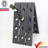 Estante de madera del vino de la antigüedad rústica hecha a mano al por mayor de la vendimia con 24 botellas