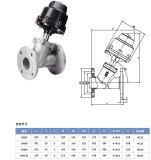Válvula de pistón neumático de ángulo con bridas de acero inoxidable SS316/304